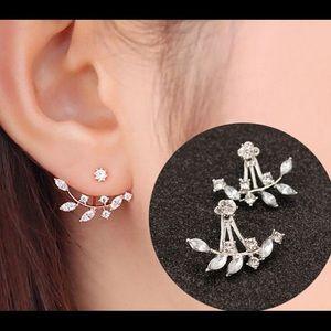 Crystal rose gold floral antique diamond  stud set